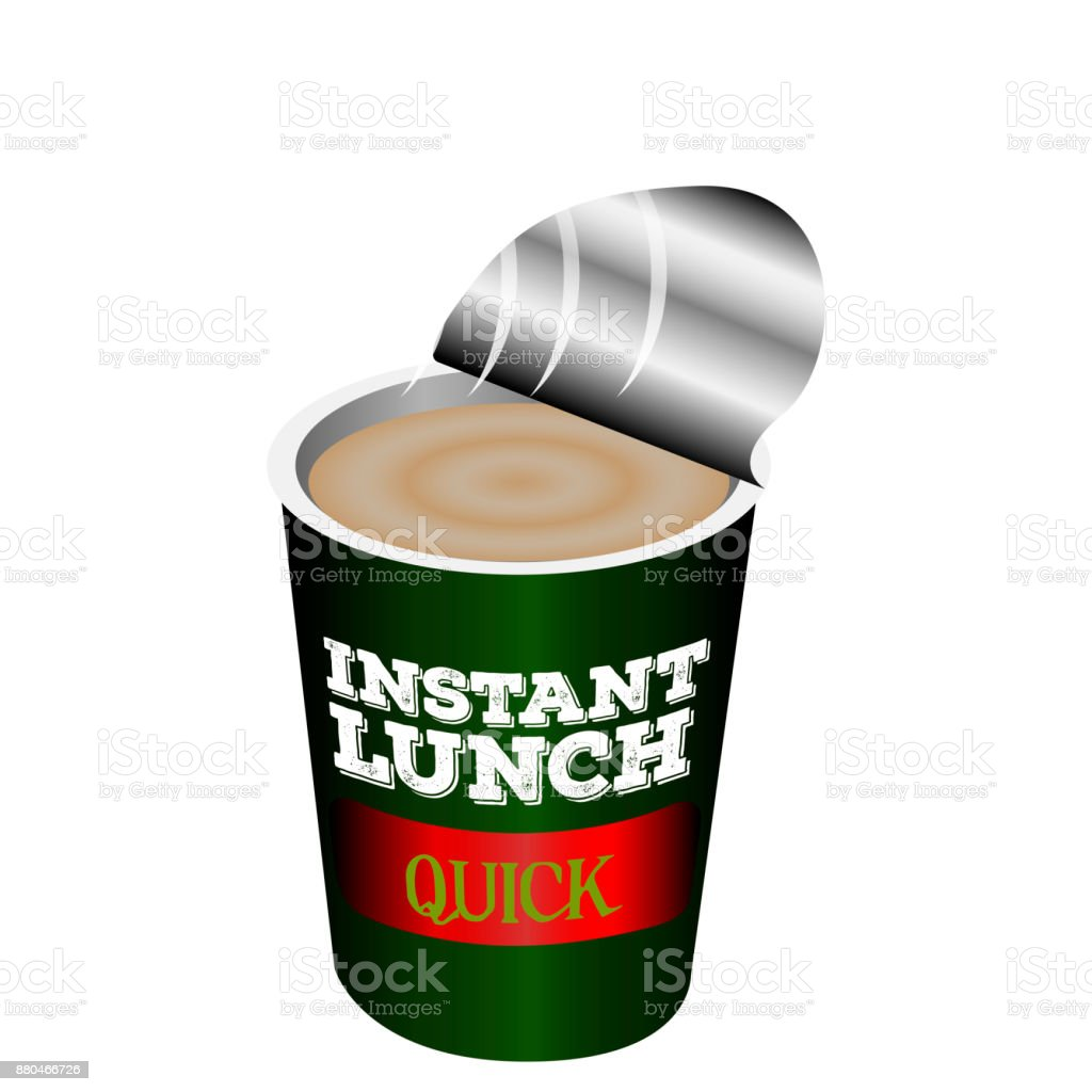 Isolated instant lunch vector art illustration