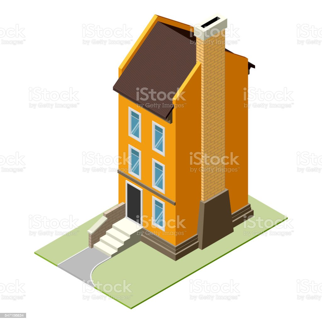 Isolated isomatic small house, Vector Property Set vector art illustration