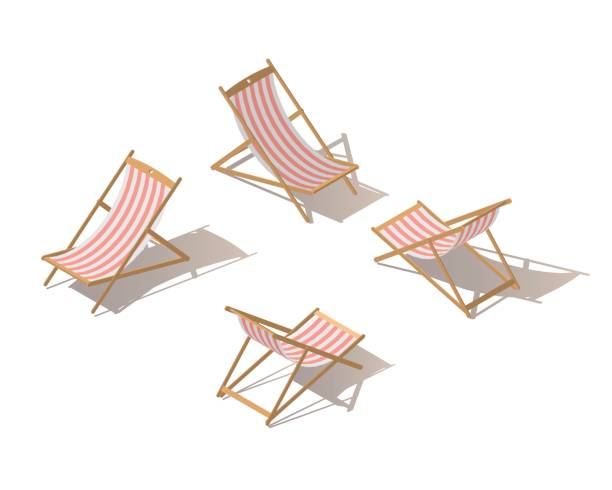 Isolated isometric chaise-longue wooden red striped deck chair, isolated on white background. Deck chair or Beach chaise longue. Flat 3d isometric illustration. Isolated isometric chaise-longue wooden red striped deck chair, isolated on white background. Deck chair or Beach chaise longue. Flat 3d isometric illustration. outdoor chair stock illustrations