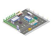 Isolated Isometric Gas Station Illustration