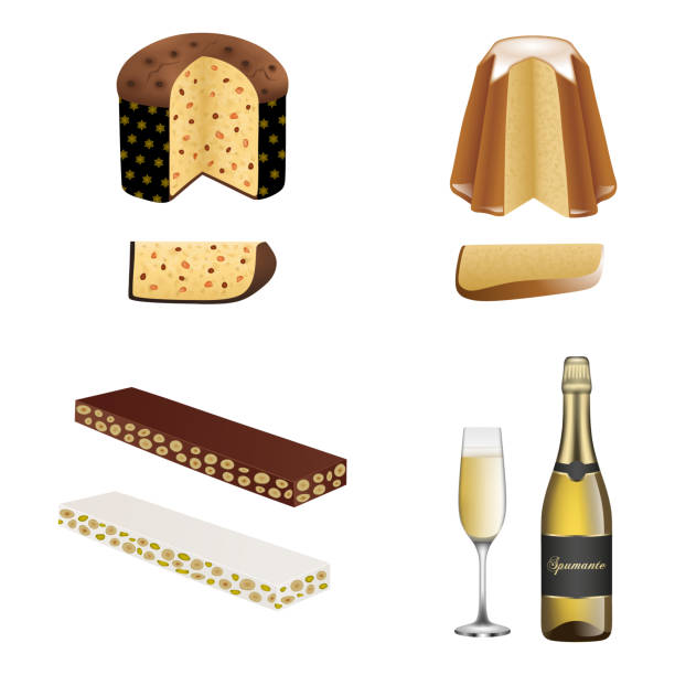 illustrazioni stock, clip art, cartoni animati e icone di tendenza di isolated italian traditional christmas cakes. panettone, pandoro, torrone and spumante bottle with glass - panettone