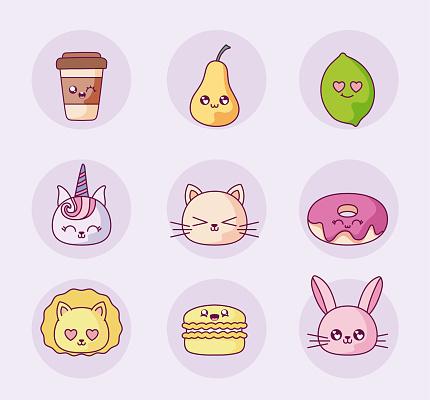Isolated kawaii cartoons icon set vector design