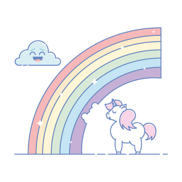 isolated kawaii unicorn eating a rainbow in flat linear style. - unicorn line drawings stock illustrations, clip art, cartoons, & icons