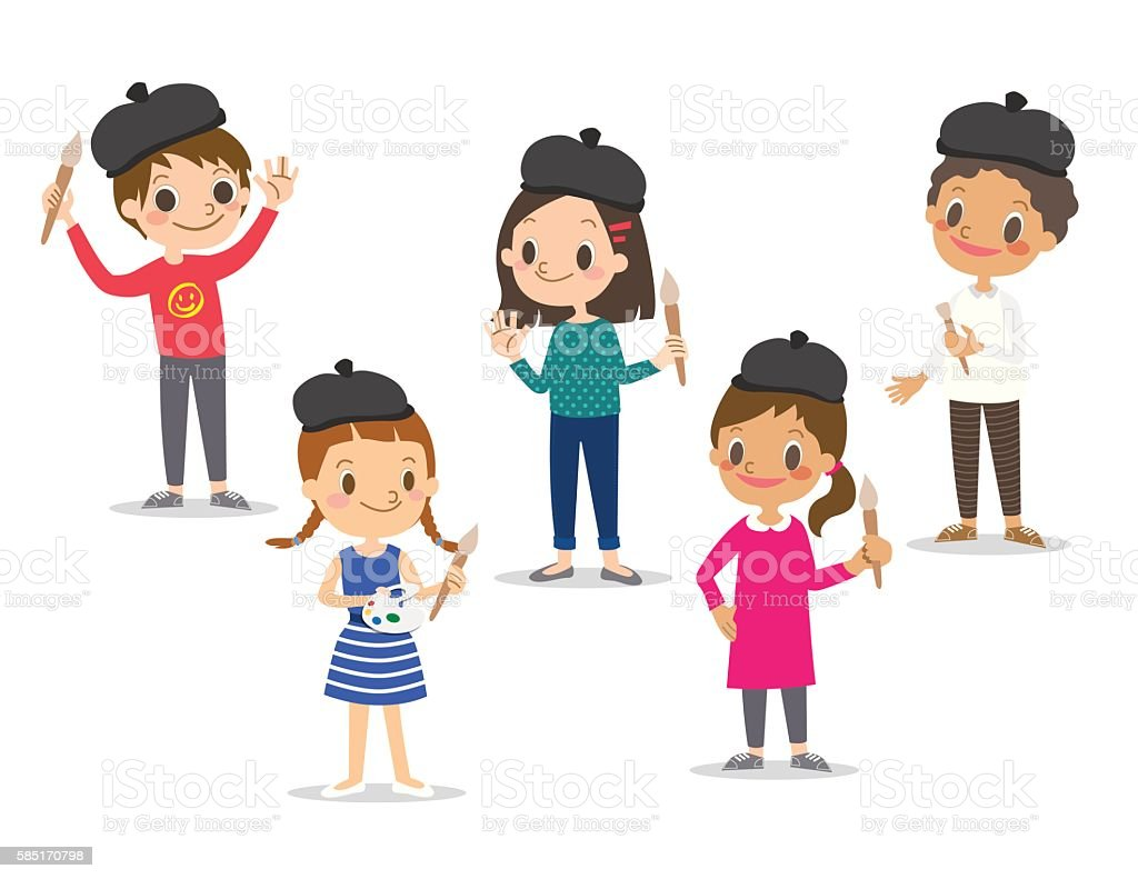 isolated kids children with painting tools cartoon character illustration vector art illustration
