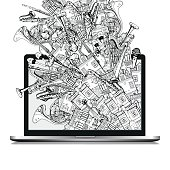 Isolated Laptop with Hand Drawn Doodles on white Background. Illustration With Different Houses and Music Instruments. Music Festival in the City.
