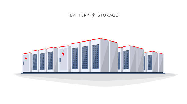 Isolated Large Battery Cloud Storage System Vector illustration of large rechargeable lithium-ion battery energy storage stationary for renewable electric power stations. Backup power energy storage cloud server system on white background. lithium stock illustrations