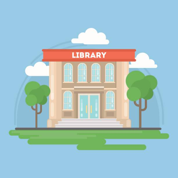 Isolated library building with landscape. vector art illustration