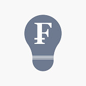 Isolated light bulb icon with a swiss franc sign