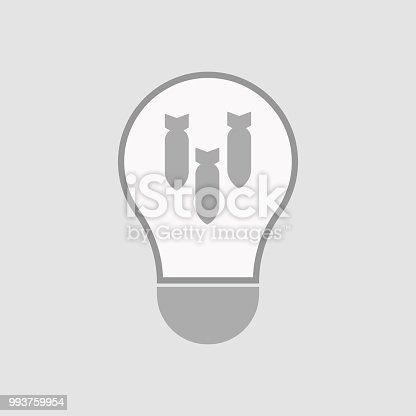 Illustration of an isolated light bulb with three bombs falling