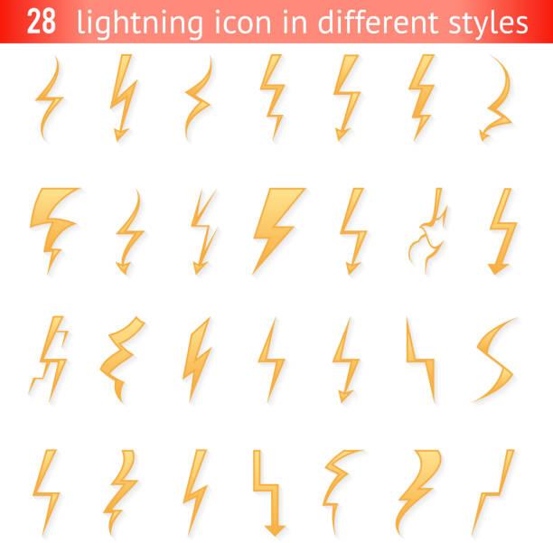 Isolated lightning thunder bolt pictogram icons set design elements vector illustration Isolated lightning thunder bolt pictogram icon set design elements vector illustration forked lightning stock illustrations