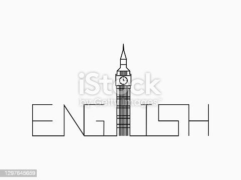 istock isolated linear black lines continuous word text english lettering with Big Ben tower, typography  on white for logo, banner, label, background, wallpaper, travel, educational element. vector design. 1297645659