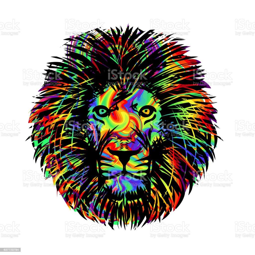 Isolated lion head vector art illustration