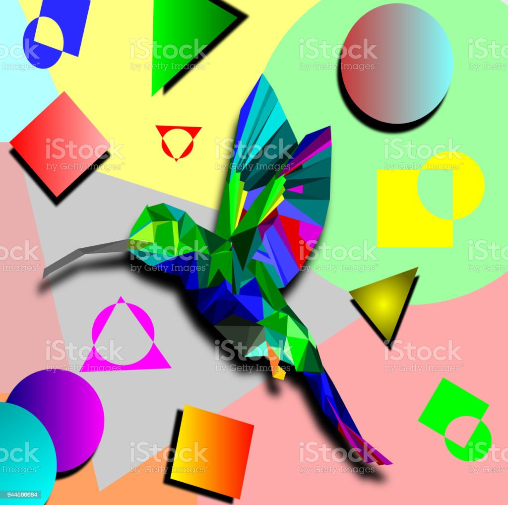 Isolated Low Poly Colorful Hummingbird With Rainbow Back