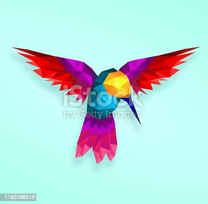 Isolated, Low poly ,colorful, Hummingbird,soft ,back ground,animal ,geometric