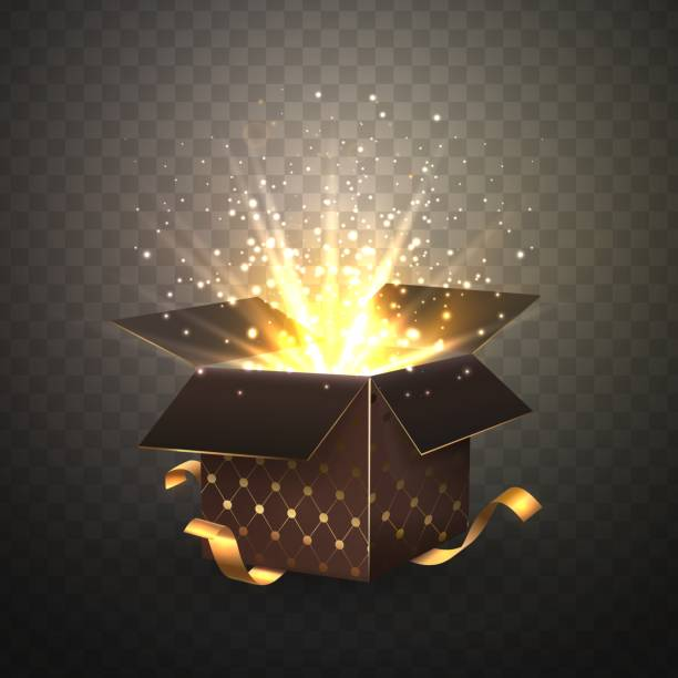 ilustrações de stock, clip art, desenhos animados e ícones de isolated luxury brown single gift box with bright rays 3d vector illustration on transparent background - surpresa