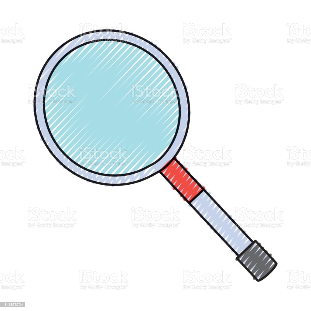 isolated magnifying glass vector art illustration