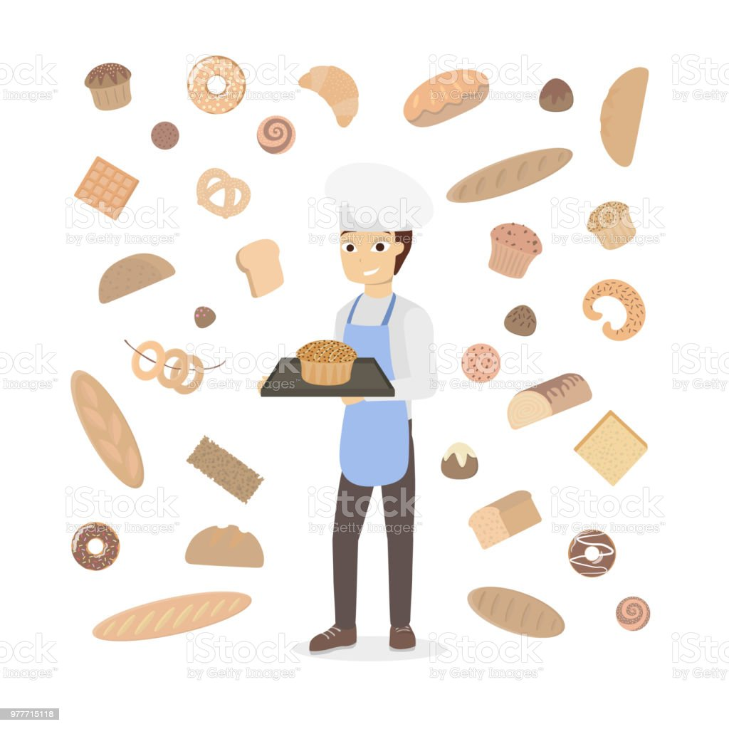 Isolated man baker. vector art illustration