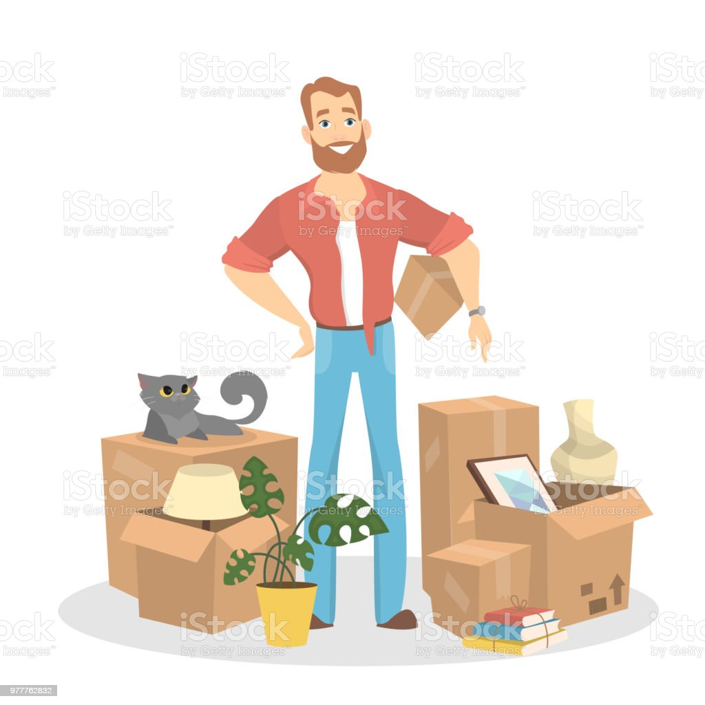 Isolated man with boxes vector art illustration