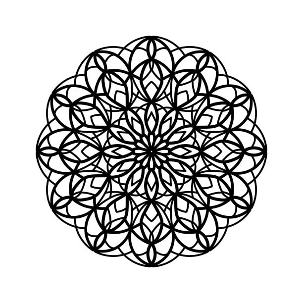Isolated mandala illustration for coloring book. Isolated mandala flower. Oriental illustration of mandala Manadala illustration for using in coloring book pages, print, invitation, fabric, graphic, web design coloring book pages templates stock illustrations