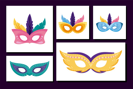 Isolated mardi gras masks set inside frames vector design