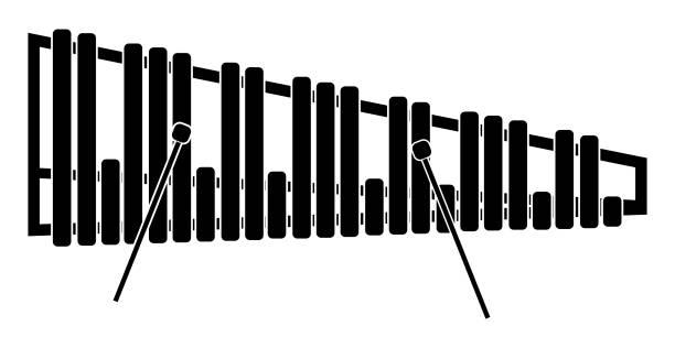 stockillustraties, clipart, cartoons en iconen met geïsoleerde marimba pictogram. muziekinstrument - slaginstrument