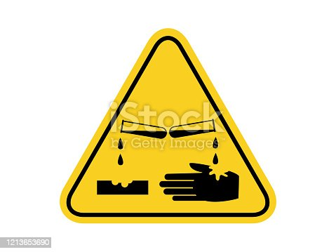 isolated materials causing skin corrosion burns , common hazards symbols on yellow round triangle board warning sign for icon, label, logo or package industry etc. flat style vector design.