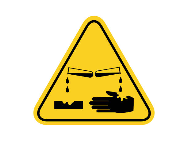 isolated materials causing skin corrosion burns , common hazards symbols on yellow round triangle board warning sign for icon, label, logo or package industry etc. flat style vector design. isolated materials causing skin corrosion burns , common hazards symbols on yellow round triangle board warning sign for icon, label, logo or package industry etc. flat style vector design. acid stock illustrations