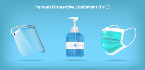 Isolated medical personal protective equipment face shield, mask, and alcohol gel on background. Pandemic covid-19 virus and protection coronavirus concept. Vector illustration design. Isolated medical personal protective equipment face shield, mask, and alcohol gel on background. Pandemic covid-19 virus and protection coronavirus concept. Vector illustration design. rubbing alcohol stock illustrations