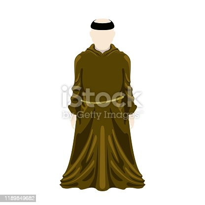 Isolated medieval monk character over a white background - Vector illustration