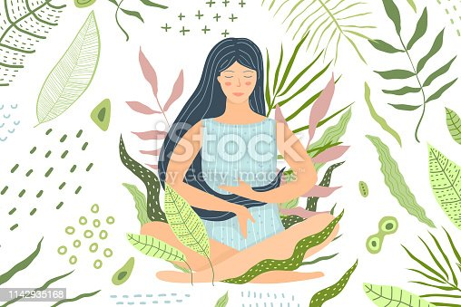 Peaceful mind and calmness. Yoga and meditation flat illustration.