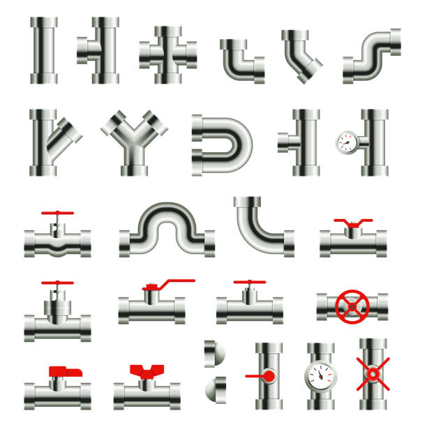 isolated metal pipes and parts. steel pipeline fittings, connectors and valves. industrial plumbing for water, oil or gas - flange stock illustrations, clip art, cartoons, & icons