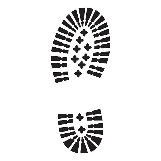 isolated military boot print - boot stock illustrations