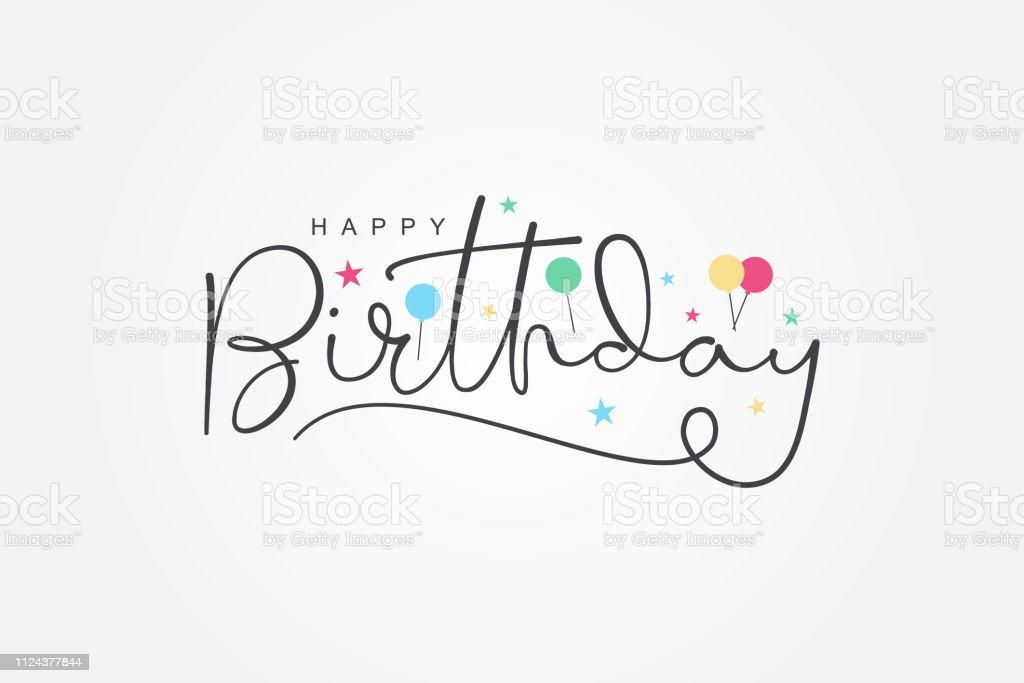 isolated modern calligraphy of happy birthday with black color isolated modern calligraphy of happy birthday with black color for greeting card Anniversary stock vector