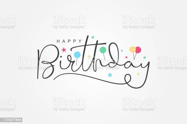 Isolated Modern Calligraphy Of Happy Birthday With Black Color Stock Illustration - Download Image Now