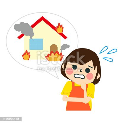 Isolated modern house on fire illustration
