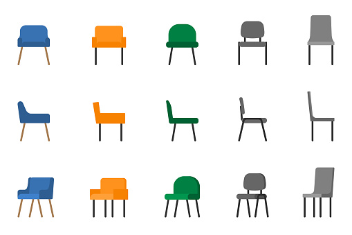 Isolated modern soft fabric office arm chair vector illustration icon set. Front, side view colored seat on white