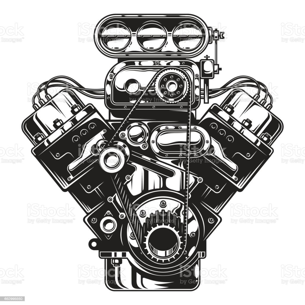 Isolated monochrome illustration of car engine vector art illustration