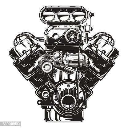 Isolated Monochrome Illustration Of Car Engine Vector Id S A on Carburetor Illustration
