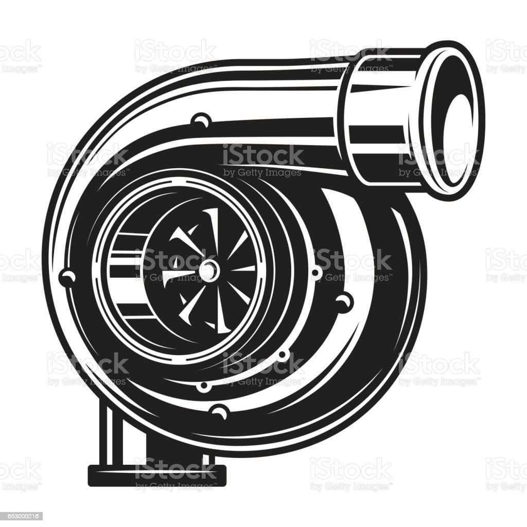 Isolated monochrome illustration of car turbo charger vector art illustration
