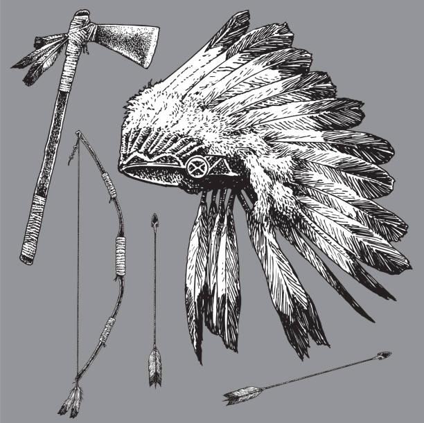 isolierte indianische ethnie kopfschmuck, pfeil und bogen, tomahawk - kopfschmuck stock-grafiken, -clipart, -cartoons und -symbole