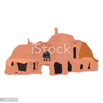 Isolated native ruins over a white background - Vector illustration