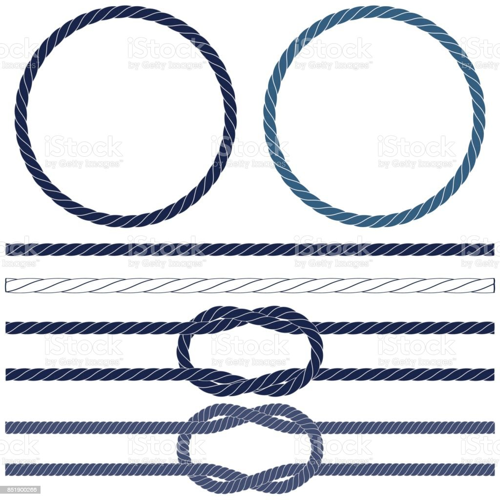 Isolated navy rope, marine knots, striped rope in blue and white vector art illustration