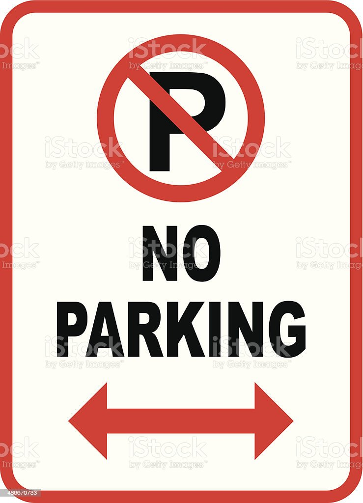 Isolated No Parking sign on white royalty-free stock vector art