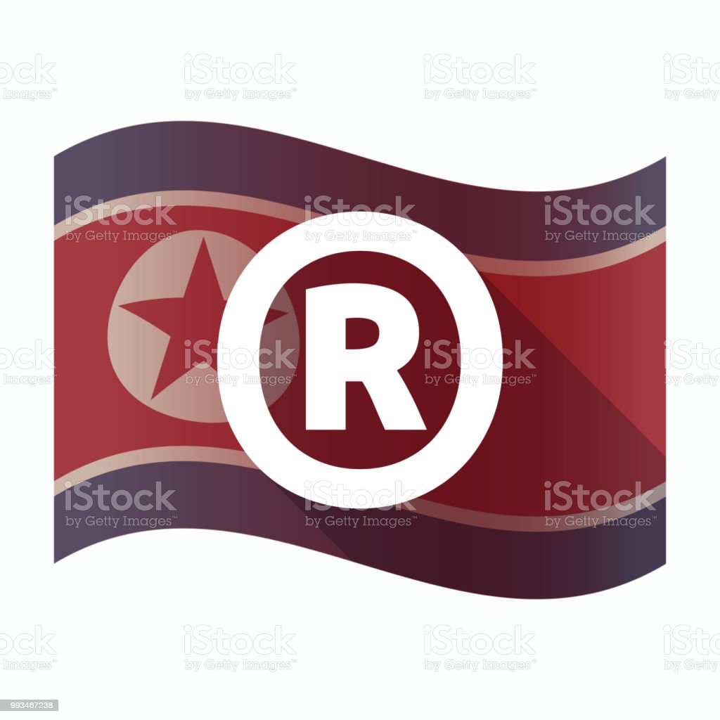 Isolated North Korea Flag With The Registered Trademark Symbol Stock