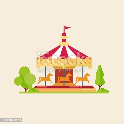 Vector illustrations of carousels