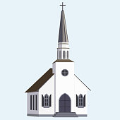 Isolated old church on white background. Religious building. Vector illustration