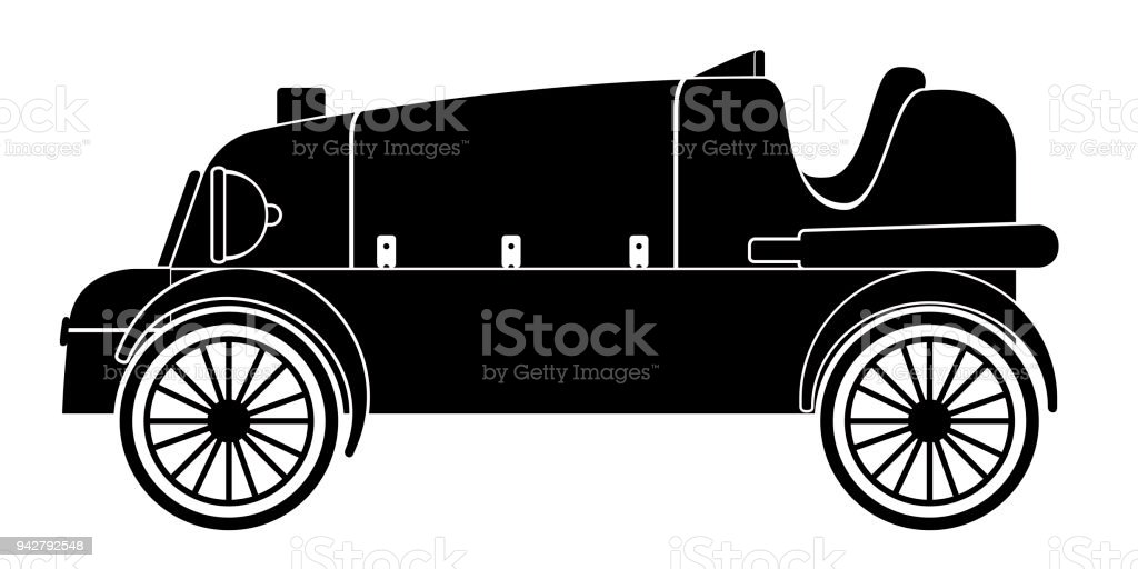 Isolated Old Racing Car Icon Stock Vector Art & More Images of Black ...
