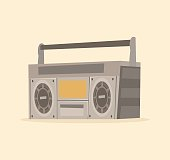 Isolated old tape recorder icon in old school style