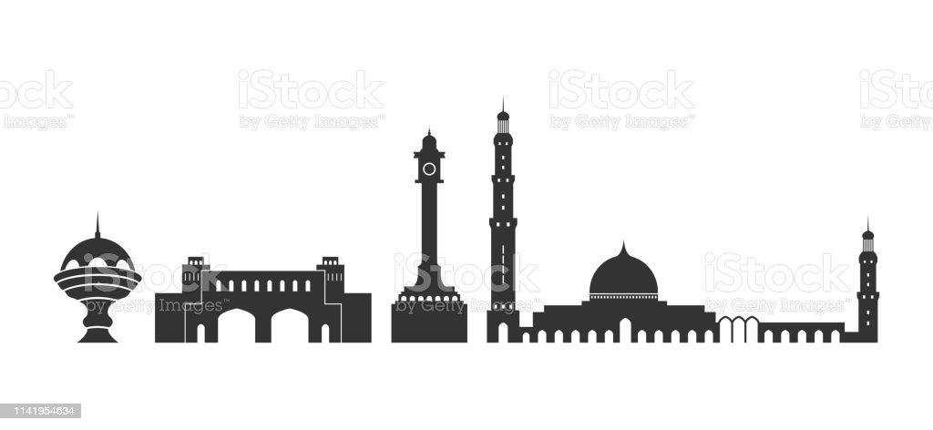 Isolated Oman  architecture on white background - Grafika wektorowa royalty-free (Abstrakcja)