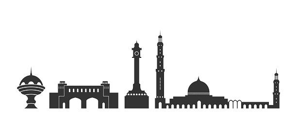 Isolated Oman Architecture On White Background - Stockowe grafiki wektorowe i więcej obrazów Abstrakcja